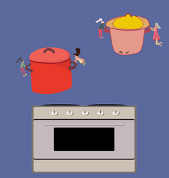 Little women food making and putting pots cooker vector