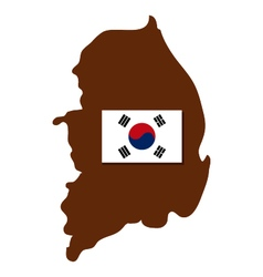 Map of South Korea with flag vector