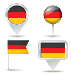 Map pins with flag of Germany vector image