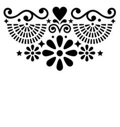 Mexican folk art greeting card pattern vector