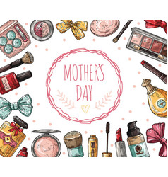 mothers day poster with cosmetics eyelashes vector image