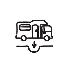Motorhome and sump sketch icon vector