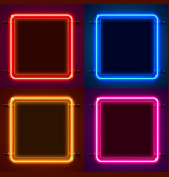 Neon frame sign in shape a square set vector