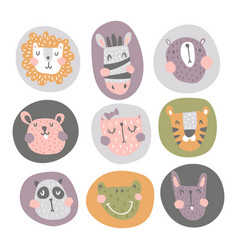 nursery animals in circles vector image