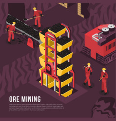 Ore mining process isometric vector