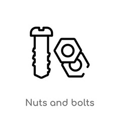 Outline nuts and bolts icon isolated black simple vector
