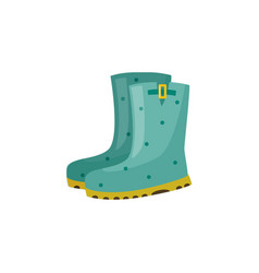 Pair of rubber boot in turquoise color vector