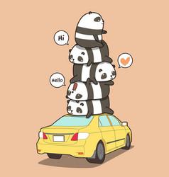 Pandas on yellow car in cartoon style vector