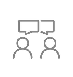 people with speech bubbles line icon conversation vector image