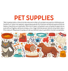 Pet supplies shop banner cat and dog vet market vector