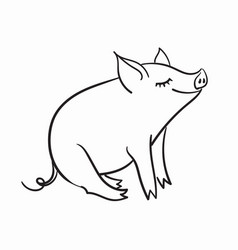 Pig black and white linear vector