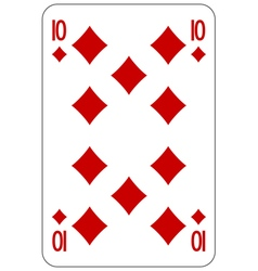Poker playing card 10 diamond vector