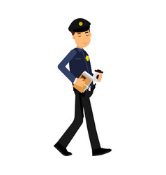police officer character walking with coffee and vector image