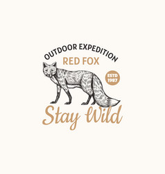 red fox badge forest ginger wild animal label vector image