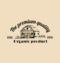 Retro farm fresh logotype organic premium vector