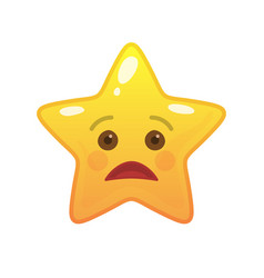 Sad star shaped comic emoticon vector