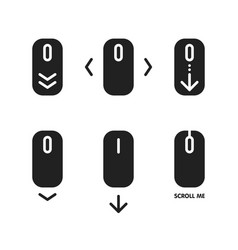 scroll down and up icon set pointer moves vector image