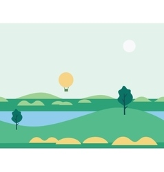 Seamless Cartoon Nature Landscape with Balloon vector