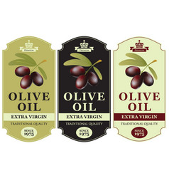 set labels for olive oil with oil twig vector image