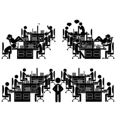 Set of flat office situation icons isolated vector