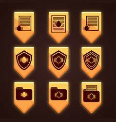 Set of orange icons for antivirus vector