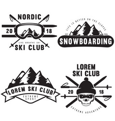 Set of vintage snowboarding ski or winter sports vector