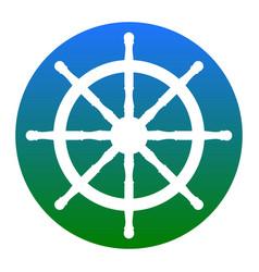 Ship wheel sign white icon in bluish vector