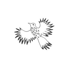 sketch doodle icon drawing of flying tropical bird vector image