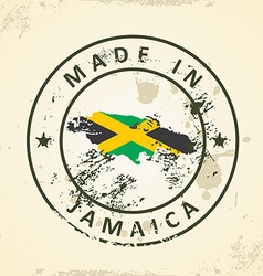 Stamp with map flag of Jamaica vector image