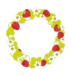 Strawberry round frame vector