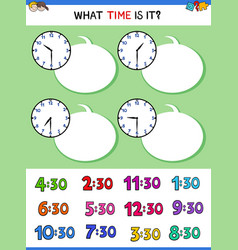 Telling time with clock face educational game vector