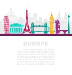 The layout of the leaflets with the sights europe vector