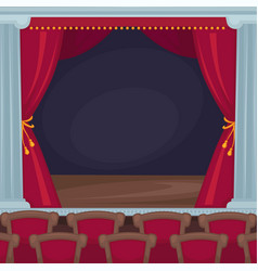 Theatre stage with red velvet curtains and vector