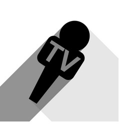 tv microphone sign black vector image
