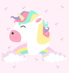 unicorn head with rainbows in color pastel vector image