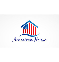 Usa house with american flag logo symbol vector