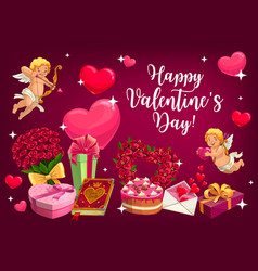 valentines day love hearts and cupids vector image