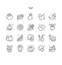 vegetables well-crafted pixel perfect thin vector image