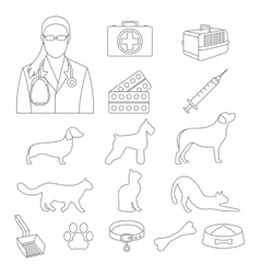 Veterinary clinic set with dog and cat and vector image
