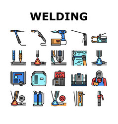 Welding machine tool collection icons set vector