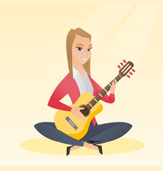 Woman playing the acoustic guitar vector