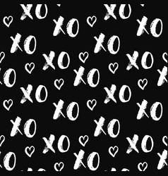 Xoxo brush lettering signs seamless pattern vector
