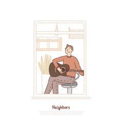 Young guy playing acoustic guitar musician vector