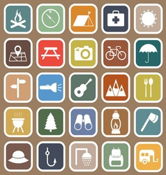 Camping flat icons on brown background vector image