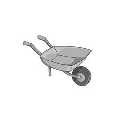 Garden wheelbarrow icon black monochrome style vector image vector image