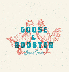 Goose and rooster beer and snacks abstract vector
