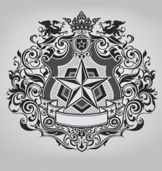 ornate shield design vector image vector image