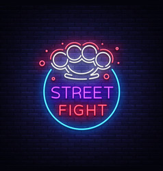street fight logo in neon style fight club neon vector image