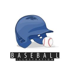Baseball helmet and ball on white background vector