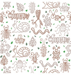 Cute seamless patterns with insects and leaves vector image vector image